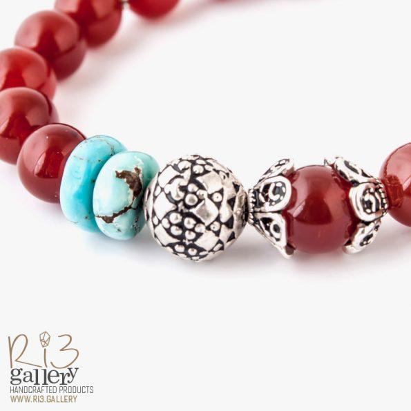 دستبند ماه تولد سنگ فیروزه اصل | ریسه گالری
