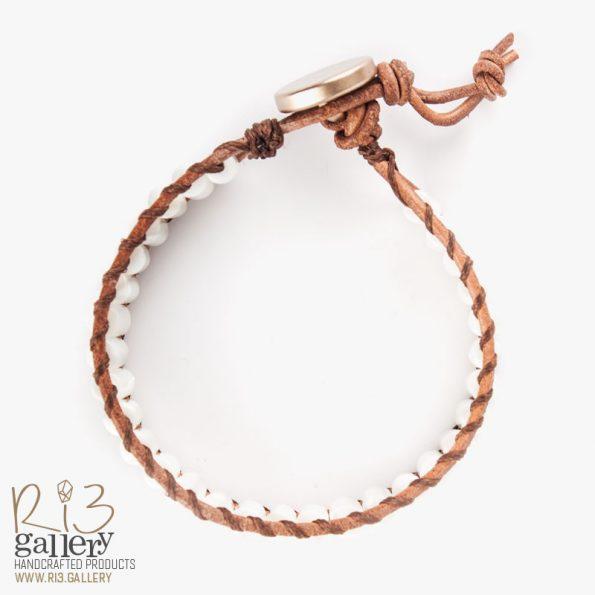 خرید دستبند چرمی صدفی