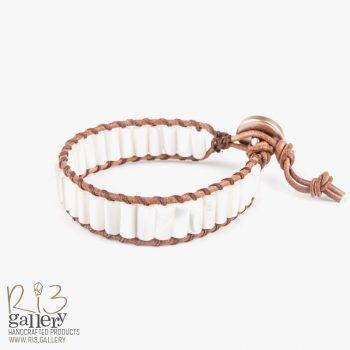 دستبند چرمی صدفی | ریسه گالری