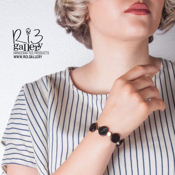 دستبند زنانه سنگ عقیق رگه دار