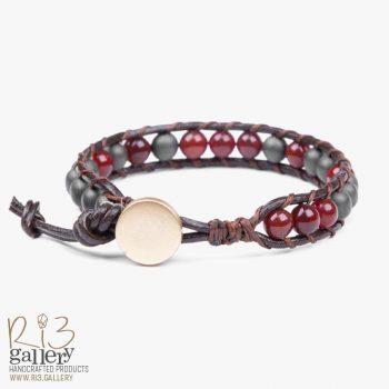 دستبند حدید زنانه چرمی