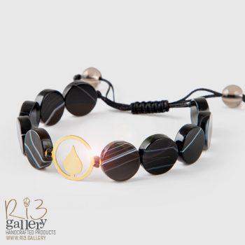 دستبند زنانه طلا سنگ عقیق