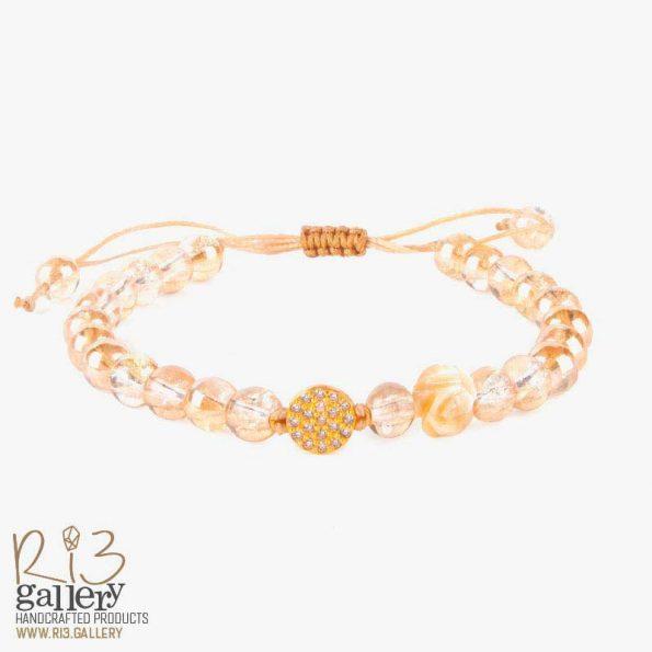دستبند طلا زنانه سیترین سنگهای متولدین ماه تیر | ریسه گالری سنگهای متولدین ماه خرداد