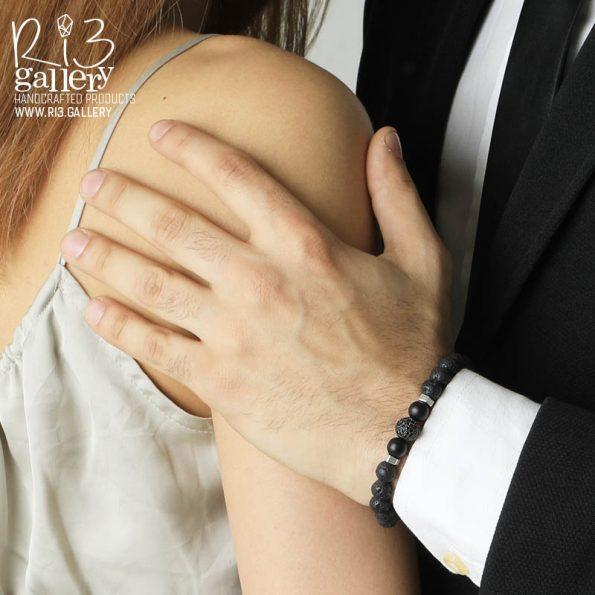 دستبند سواروسکی نقره مردانه
