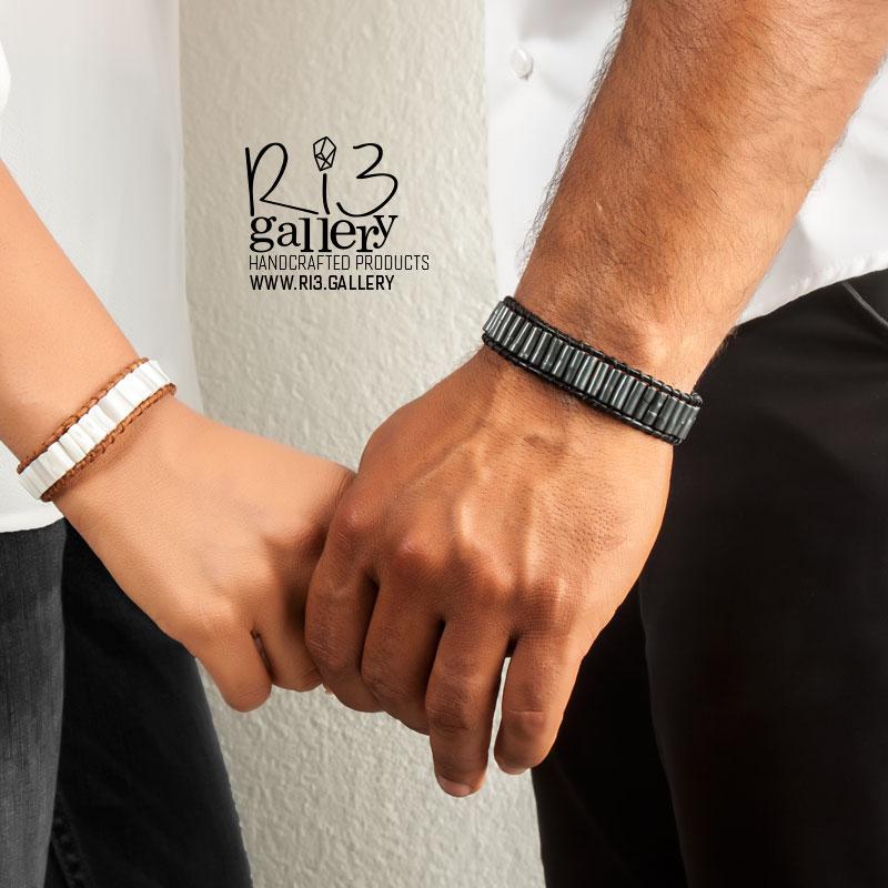دستبند مردانه چرمی سنگ حدید