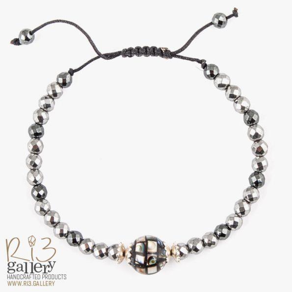 خرید دستبند نقره زنانه گوی صدفی