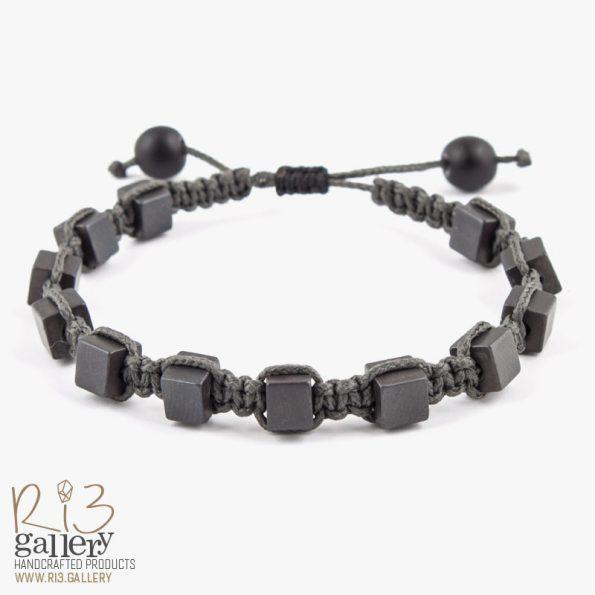دستبند بافت مردانه سنگ حدید | ریسه گالری