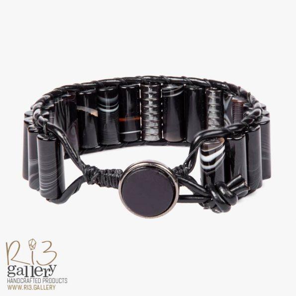 خرید دستبند مردانه چرمی عقیق و حدید ریسه