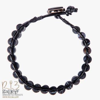 خرید آنلاین دستبند مردانه چرمی عقیق و حدید فروشگاه ریسه گالری