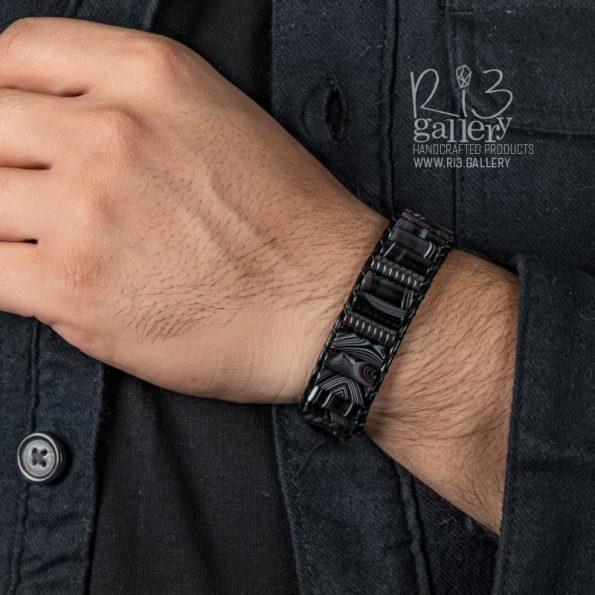 دستبند ریسه گالری مردانه چرمی عقیق و حدید