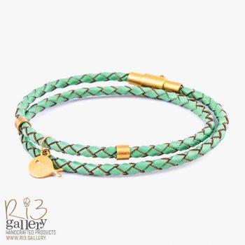 دستبند طلا زنانه چرمی | ریسه گالری