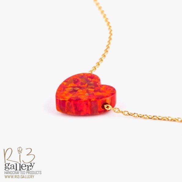 گردنبند طلا اوپال قرمز طرح قلب | ریسه گالری