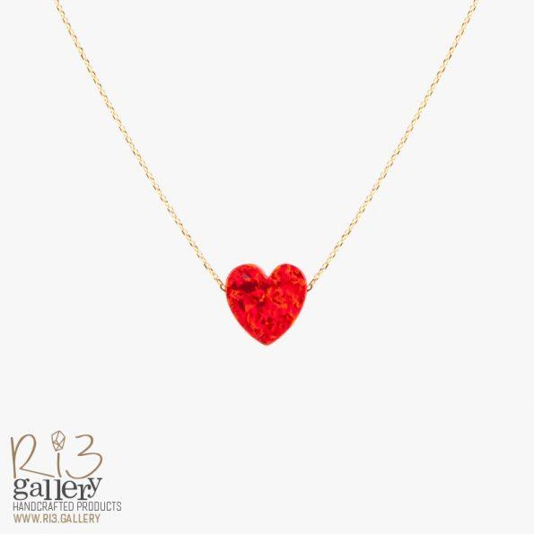 گردنبند طلا اوپال قرمز طرح قلب | ریسه گالری سنگهای متولدین ماه تیر