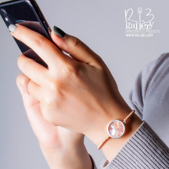 دستبند صدف با طرح پولکی رزگلد