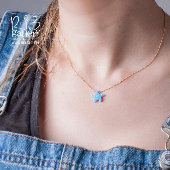 گردنبند اوپال ستاره دریایی | ریسه گالری