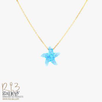 گردنبند اوپال ستاره دریایی | ریسه گالری سنگهای متولدین ماه تیر