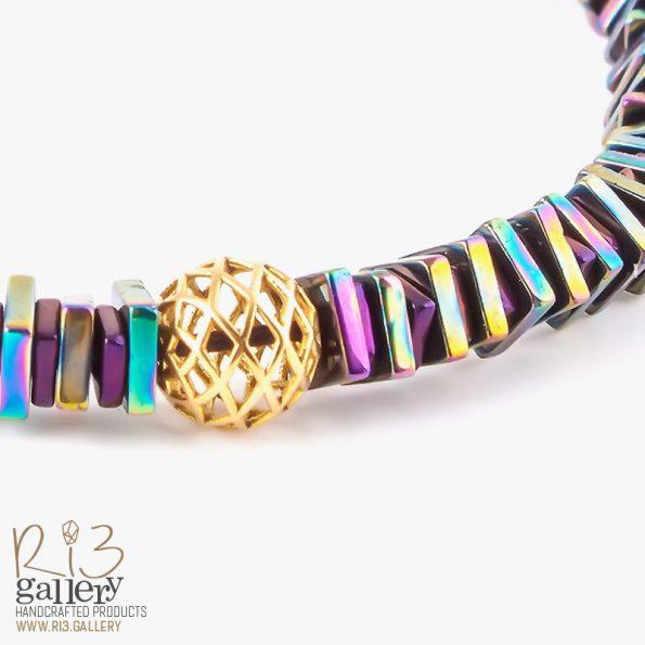 دستبند حدید رنگین کمانی | ریسه گالری
