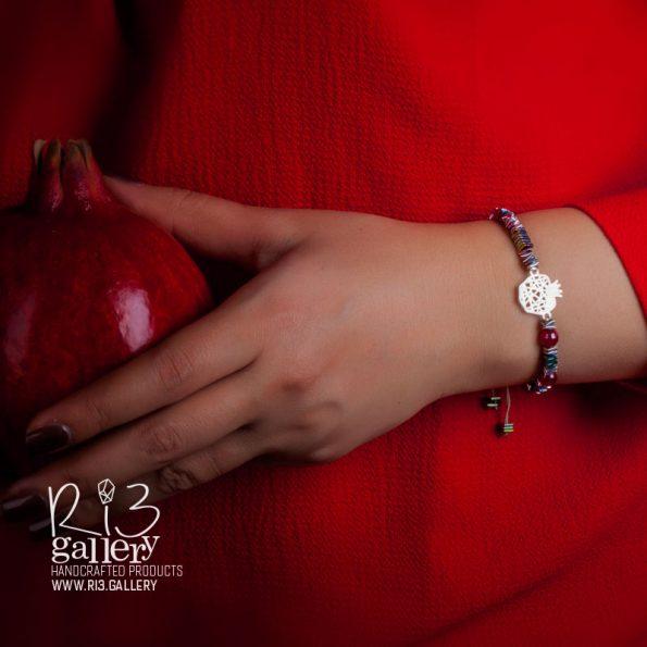دستبند نقره طرح انار | ریسه گالری
