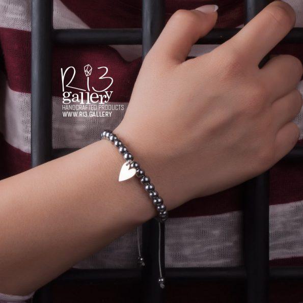 دستبند حدید با پلاک نقره