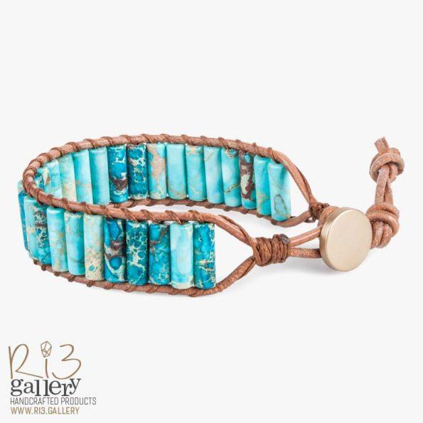 دستبند زنانه جاسپر | ریسه گالری | سنگ های متولدین شهریور ماه جاسپر و یشم و سیترین و حدید