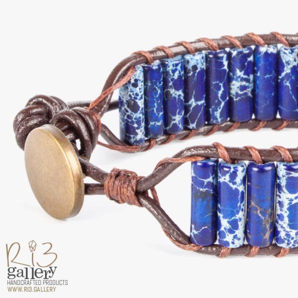 دستبند زنانه جاسپر لاجوردی | ریسه گالری