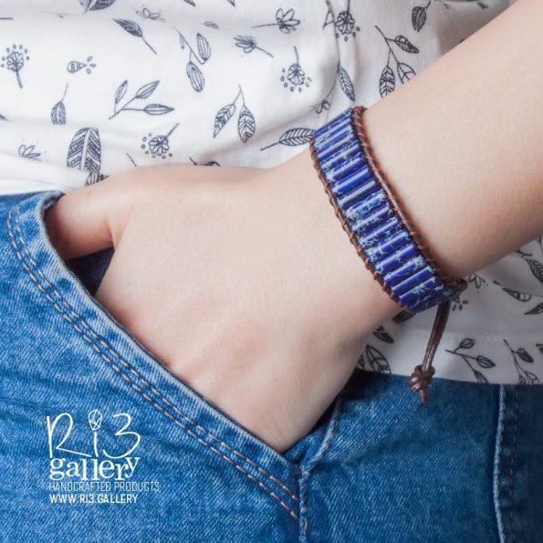دستبند زنانه جاسپر لاجوردی | ریسه گالری سنگ های متولدین شهریور ماه جاسپر و یشم و سیترین و حدید
