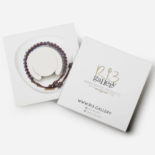 دستبند زنانه جاسپر لاجوردی | ریسه گالری | سنگ های متولدین شهریور ماه جاسپر و یشم و سیترین و حدید