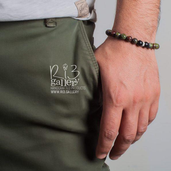 زیورآلات دراگون دستبند مردانه نقره سنگ دراگون | ریسه گالری