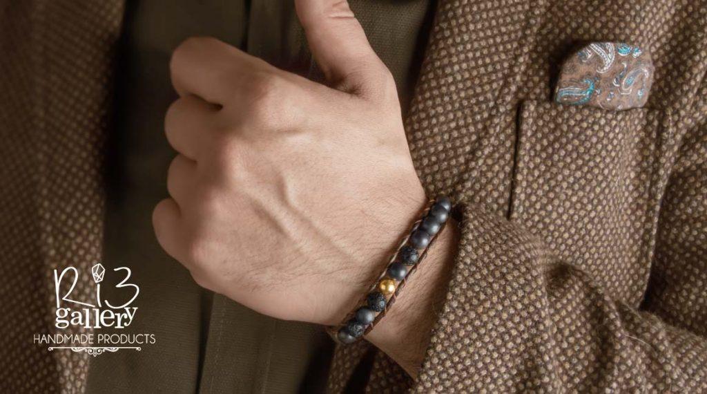 دستبند چرم و طلا مردانه