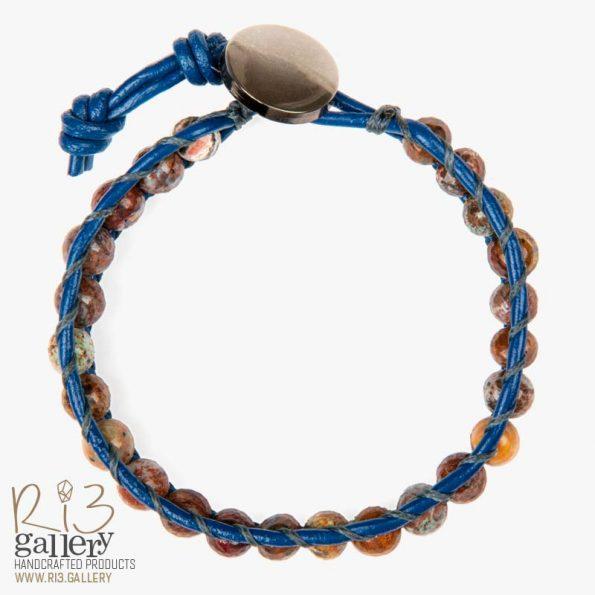 دستبند چرم زنانه سنگ جاسپر | ریسه گالری سنگ های متولدین شهریور ماه جاسپر و یشم و سیترین و حدید