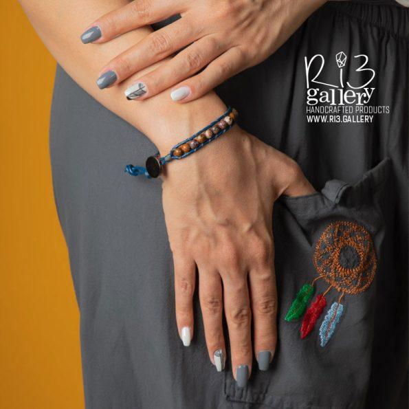دستبند چرم زنانه سنگ جاسپر | ریسه گالری | سنگ های متولدین شهریور ماه جاسپر و یشم و سیترین و حدید