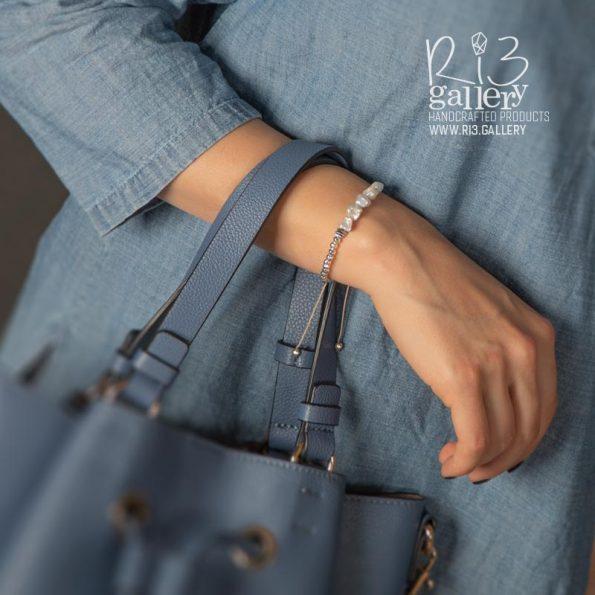دستبند مروارید و حدید زنانه | ریسه گالری