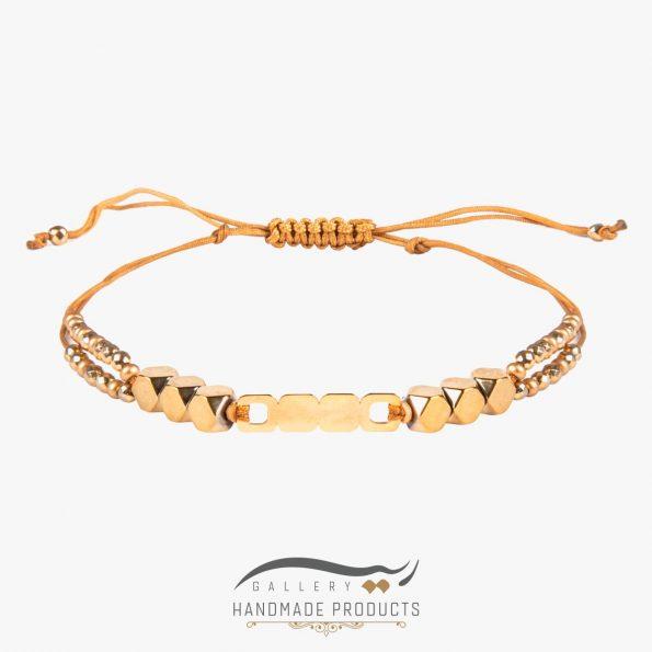 دستبند طلا زنانه سنگ مکعبی