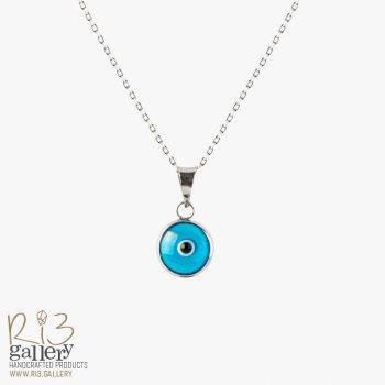 گردنبند چشم نظر نقره | ریسه گالری |استفاده از نماد در زیورآلات نماد چشم نظر