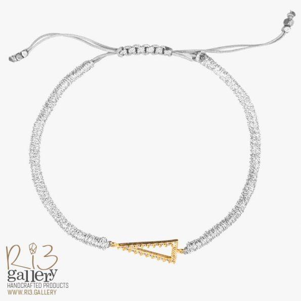دستبند طلای زنانه مثلثی | دارای 0.700 گرم طلا