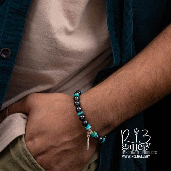 اکسسوری خاص خرید دستبند مردانه نقره و فیروزه ریسه گالری