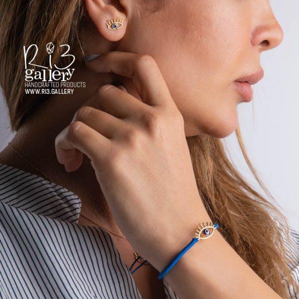 خرید دستبند زنانه طلا با پلاک چشم