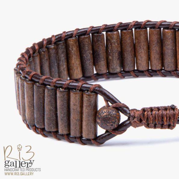 دستبند مردانه چرمی و چوب