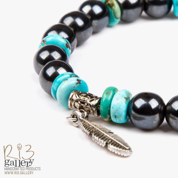 دستبند مردانه نقره و فیروزه ترکیب سنت و مدرنیته