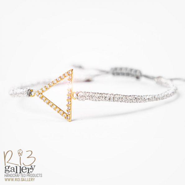 دستبند طلای زنانه مثلثی ریسه گالری| دارای 0.700 گرم طلا