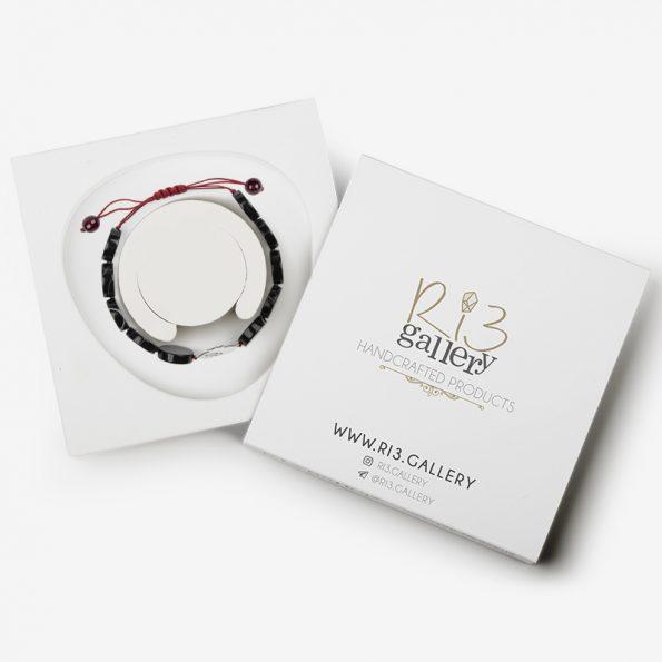 دستبند نقره زنانه سنگ عقیق سیاه