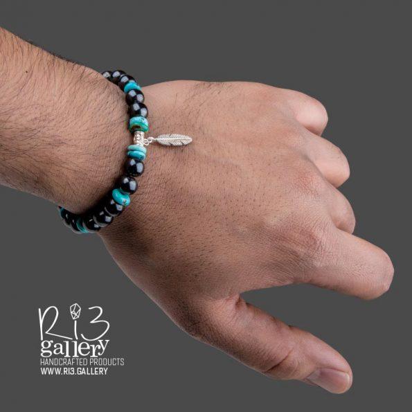 دستبند مردانه نقره و فیروزه خرید در ریسه گالری