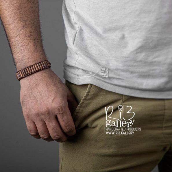 دستبند مردانه چرمی چوب کافه ریسه