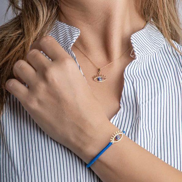 دستبند زنانه طلا با پلاک چشم