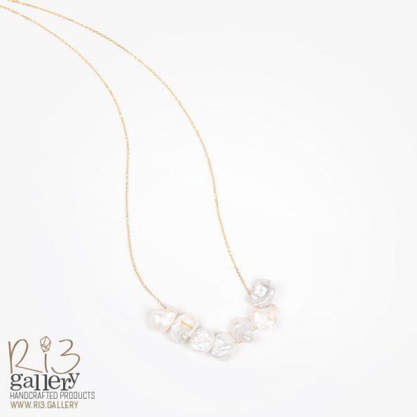 گردنبند طلا زنانه و گردنبند طلا با طرح مروارید فشن