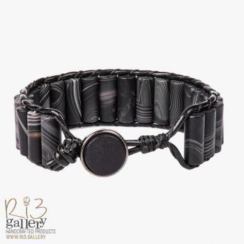 خرید دستبند مردانه چرمی عقیق مات ریسه گالری