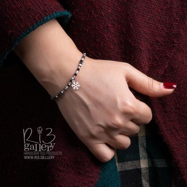 دستبند طلای زنانه برفی خرید زیورآلات ریسه گالری
