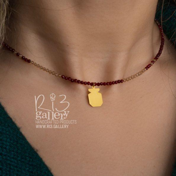 گردنبند طلای زنانه انار فروشگاه اینترنتی ریسه گالری