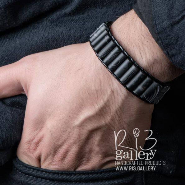دستبند مردانه چرمی عقیق مات فروشگاه اینترنتی زیور آلات ریسه گالری