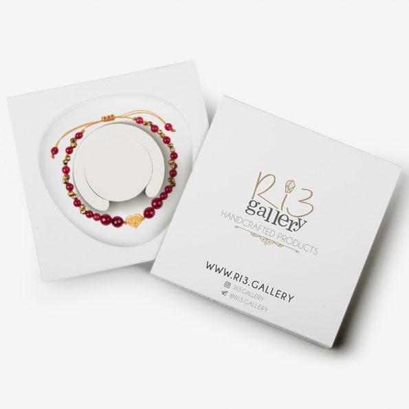 دستبند طلای زنانه فیوژن قلب ریسه گالری بسته بندی
